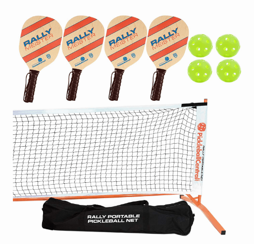 Rally Meister Pickleball Net, Paddle, and Ball Set